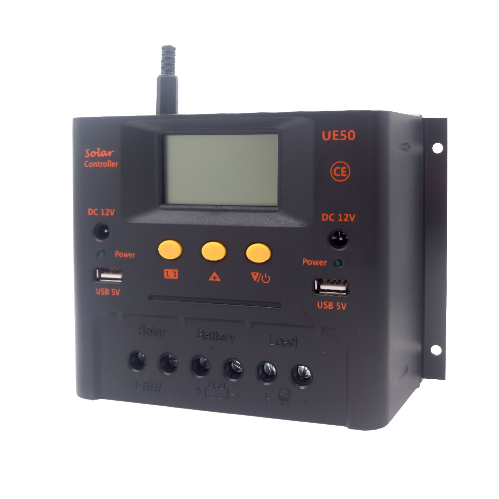 Tumo-Int 50Amp PWM Solar Controller, 12/24V input with two 5Vdc USB and two 12Vdc Power Sockets