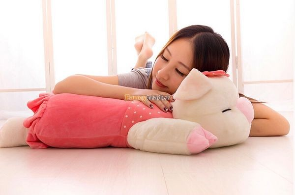 Fancytrader Hot Selling 35\'\' 90cm Super Lovely Soft Stuffed Giant  Lying Pig Toys ,3 Colors Available!Best Gift and Decoration for Kids, Free Shipping FT50069(9)