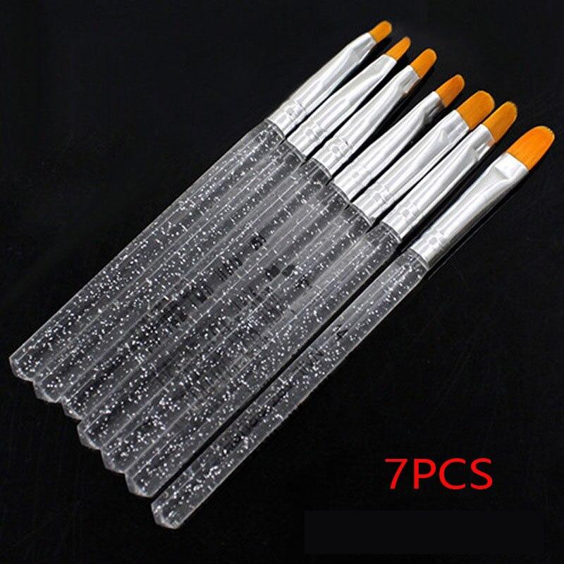 New 7pcs UV Gel Acrylic Crystal Nail Art Brush Pen Drawing Design Builder Painting Tool Set Beautiful Women Nail Accessories