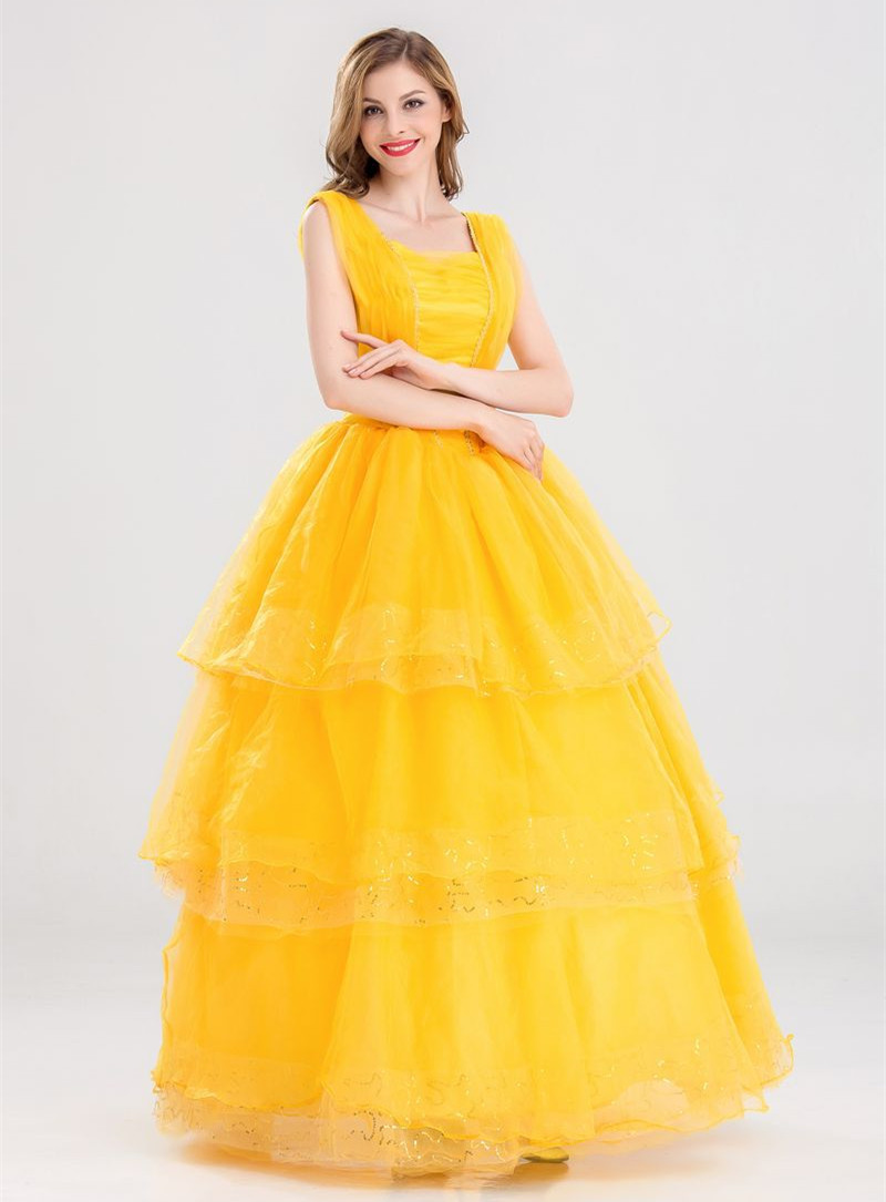 Halloween women Beauty and the Beast Belle Dress Role play Yellow Princess Layered dress Stage Belly Fairy costumes any size