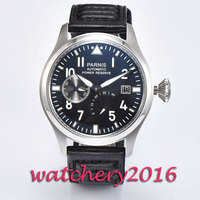 New 47mm Parnis Black Dial Power Reserve automatic mechanical movement watch date adjust ST 2530 Automatic movement Men's Watch|watch date|watch men|watch men watch -