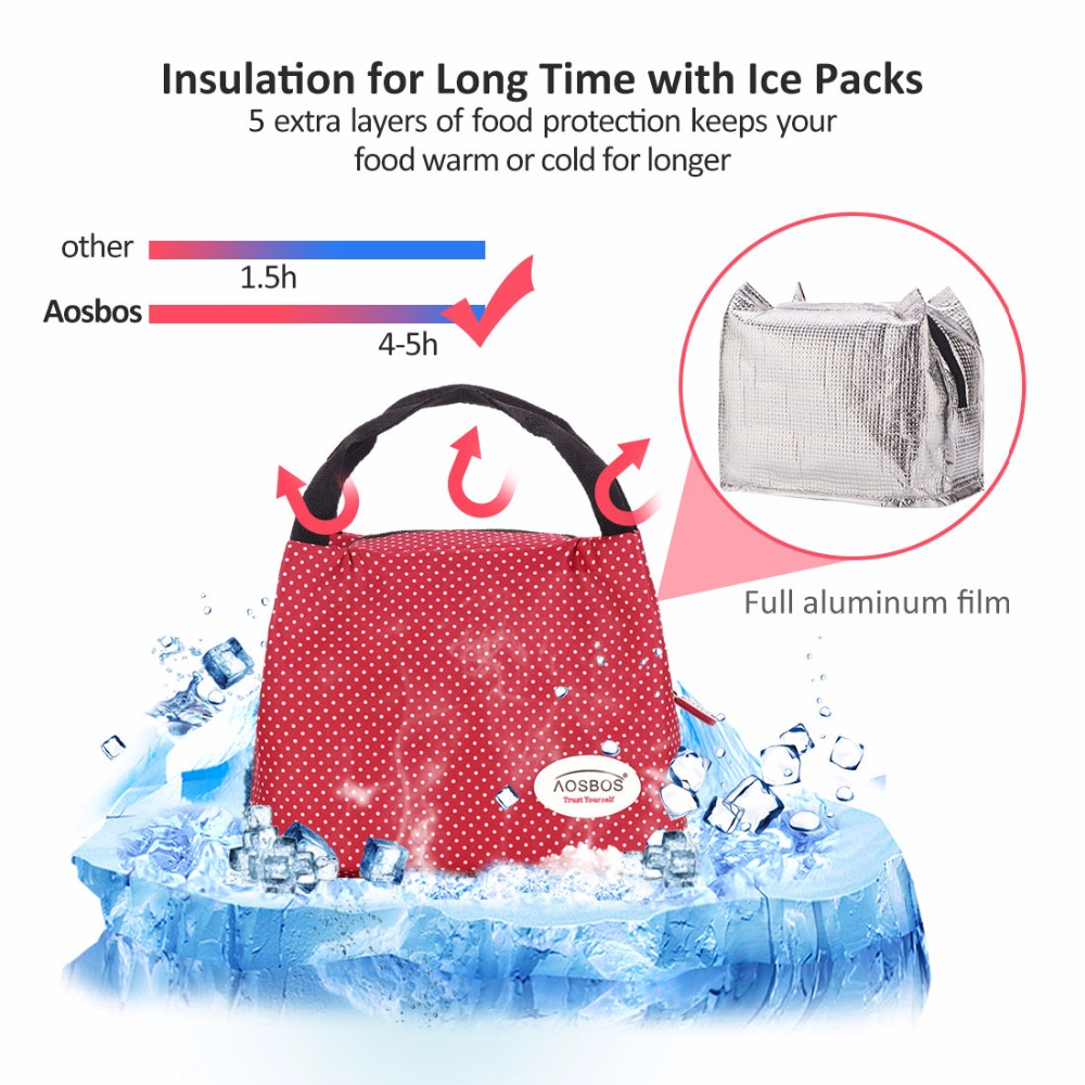 Aosbos moda portátil isolado saco de almoço de lona comida térmica piquenique sacos de almoço para as mulheres dos homens dos miúdos saco de almoço refrigerador tote