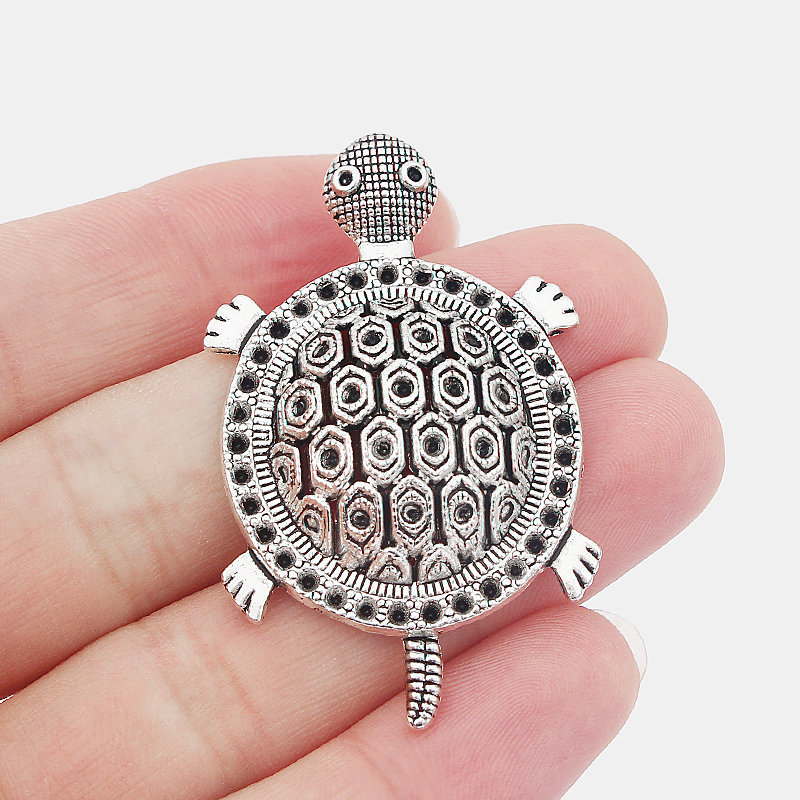 3pcs Antique Silver Cute Turtles Tortoise Charms Pendants DIY Jewellery Making Finding 52*32mm