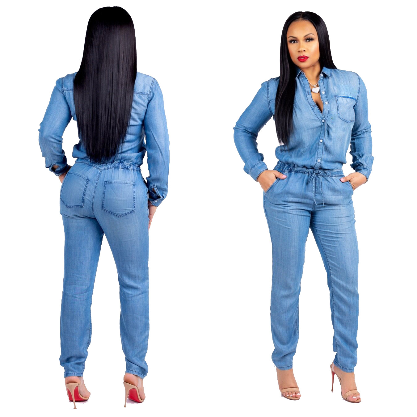 2019 European and American fashion jeans women's slim casual jumpsuit plus size  jeans woman streetwear