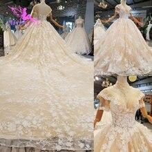 فساتين زفاف AIJINGYU مقاس كبير فستان كوري دانتيل تول قطع قطعتين خصم فساتين زفاف جميلة للبيع