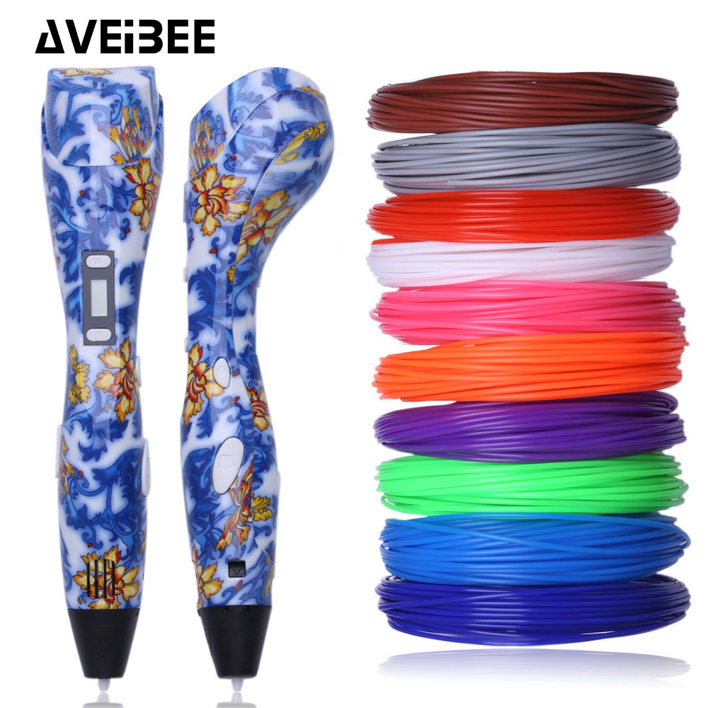 3D Pen 3 D Printing Drawing Pens with LCD Screen for Doodle Model Making Arts and Crafts with 100 Meter 1.75mm PLA Filament new arrival 3d printing pen with 100m 10 color or 200 meter 20 color plastic pla filaments 3 d printer drawing pens for kid gift