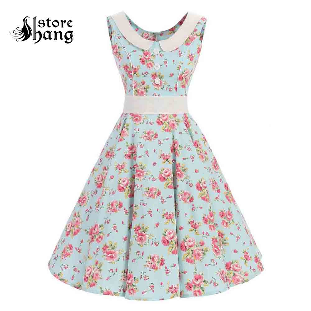 Women's 50s Vintage Rockabilly Swing Dress Seam Line Sleeveless Cotton Polka Dot Floral Audrey Cocktail Party Tea Dress