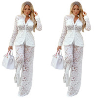 MUXU women white Lace Long Sleeve Loose Coat Wide Leg casual fashion Suit mesh sexy transparent two piece set top and pants