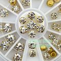 High Quality 1 Wheel 44PCS Mosaic Diamond Alloy Flat Back Nail Art Rhinestone Phone Decoration DIY Free Shipping