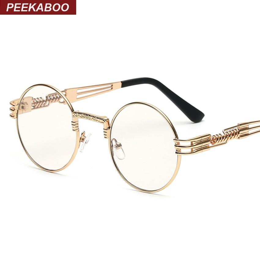 b5832662f139 Peekaboo clear fashion gold round frames eyeglasses for women vintage  steampunk round glasses frames for men