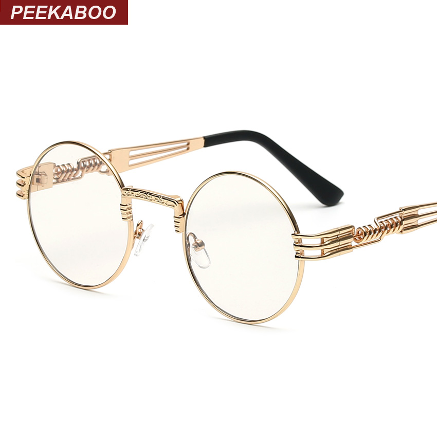 Peekaboo Clear Fashion Gold Round Frames Eyeglasses For Women Vintage Steampunk Round Glasses Frames For Men Male Nerd Metal