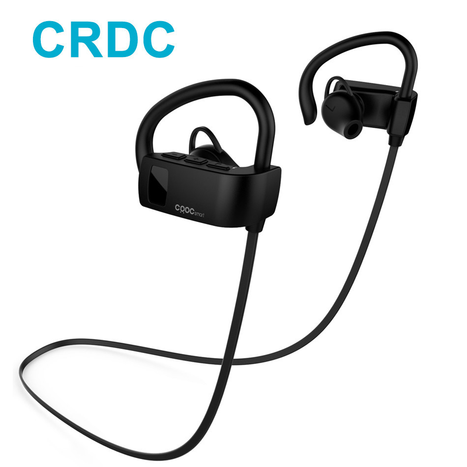 CRDC Bluetooth Earphone Sport Sweatproof Ear Hook Wireless Headphones Stereo Earbuds Bass Headset with Mic for Xiaomi iPhone etc universal led sport bluetooth wireless headset stereo earphone ear hook headset for mobile phone with charger cable
