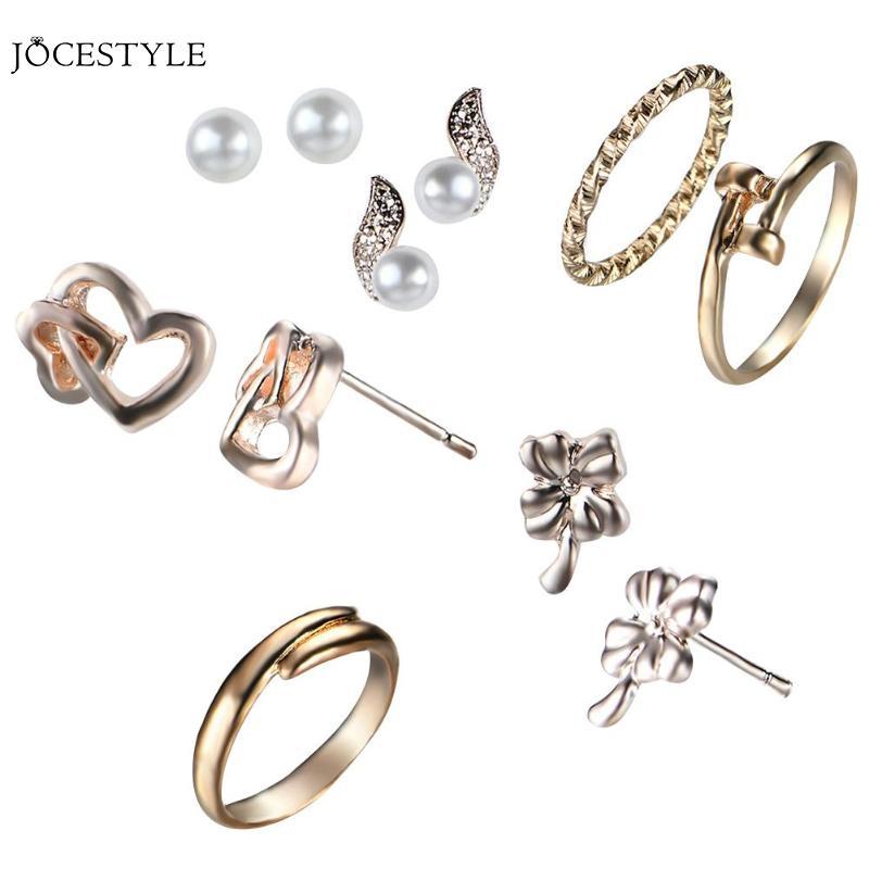 Fashionable Alloy Irregular Geometric Jewelry Sets 4 Pairs Simulated Pearl Rhinestone Earring Ear Stud 3 Rings Kits