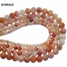 Free Shipping Natural Stone orange Dragon Vein Agates Round Loose Beads  For Jewelry Making DIY Bracelet Necklace 6 8 10 12 MM