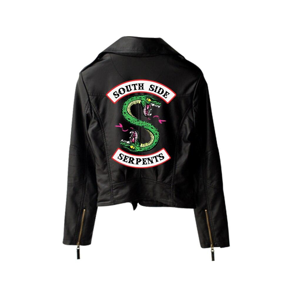 New 2019 Riverdale PU Printed Logo Southside Riverdale Serpents Jackets Women Riverdale Serpents Streetwear Leather Jacket 7