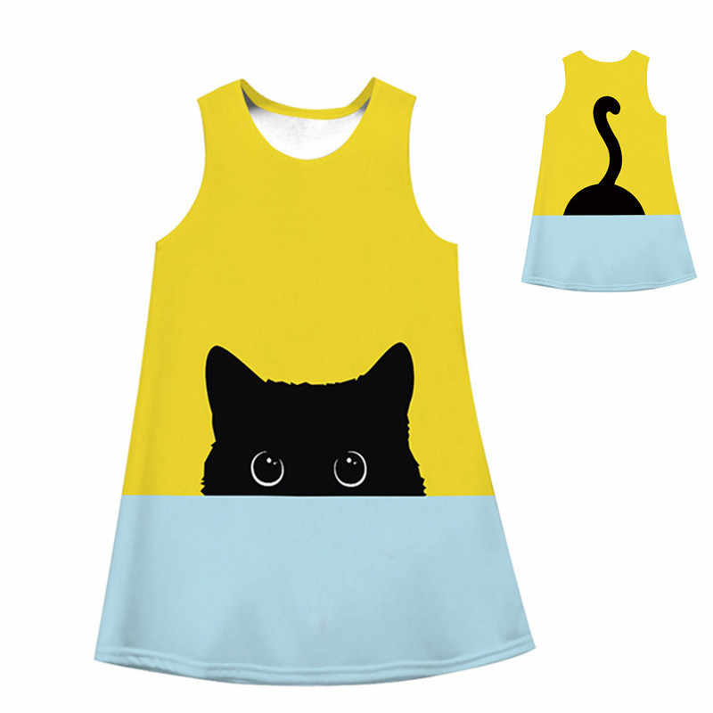9928d62bda6f0 Summer 2019 Kids Princess Dresses for Girl Casual Cute Cat Printing Girl  Dress Children Clothing Girl Colothes 6-11Y