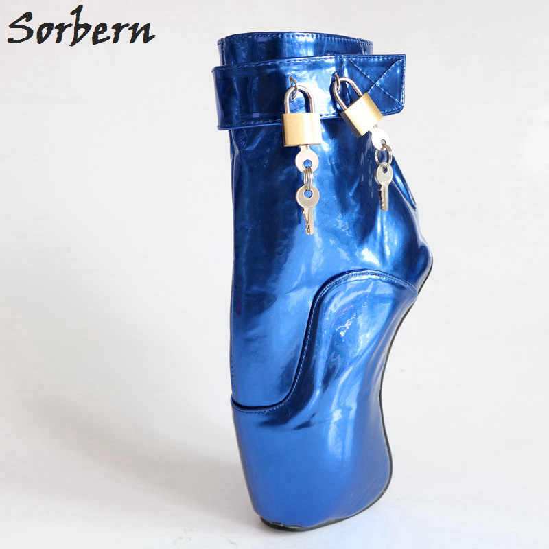 8e957c57d818 ... Sorbern Royal Blue Metallic Ankle Boots For Women Ballet High Heels  Padlocks Exotic Dance Party Shoes