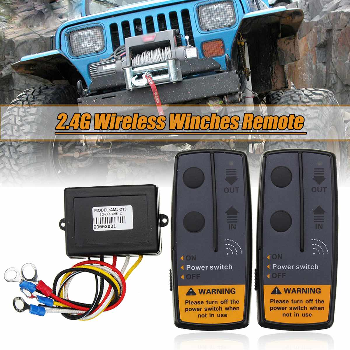 2.4G 12V 50M Digital Wireless Winches Remote Control Recovery Kit For Jeep SUV