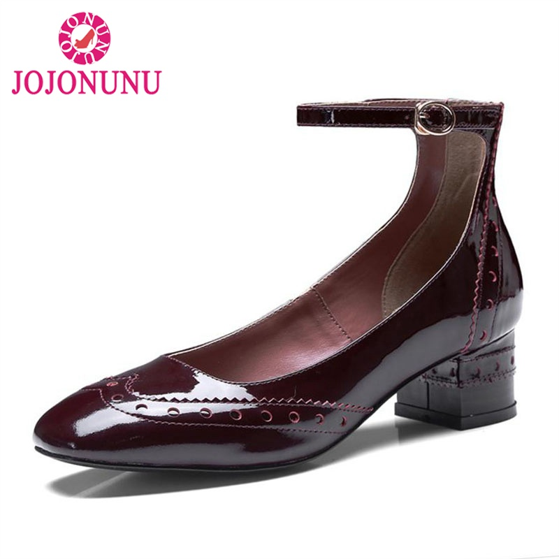 купить JOJONUN Women Real Leather High Heel Shoes Buckle Patchwork Hollow Solid Heels Pumps Lady Daily Office Footwear Size 34-39 по цене 4387.2 рублей