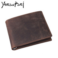 YeeSupSei Vintage Designer Leather Men Wallet Slim Thin Wallet Male Small Purse Money Credit Card Pocket Fashion Man Monney Clip
