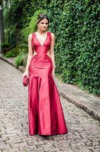 Frauen Elegante Wine Red Satin Lange Meerjungfrau Abendkleider 2016 V-ausschnitt Sleeveless Perlen Kostenloser Versand Partei-kleid Vestidos