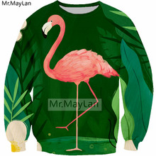 Harajuku 3D Print Flamingo Palm Tree Hiphop Sweatshirts Men/women Long Sleeves Pullover Streetwear Hoodies Boys Green Clothes