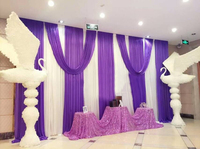 3X6M Luxury Wedding Backdrop Curtain Wedding Drapes With Detachable Purple Swag For Event Party Stage Background