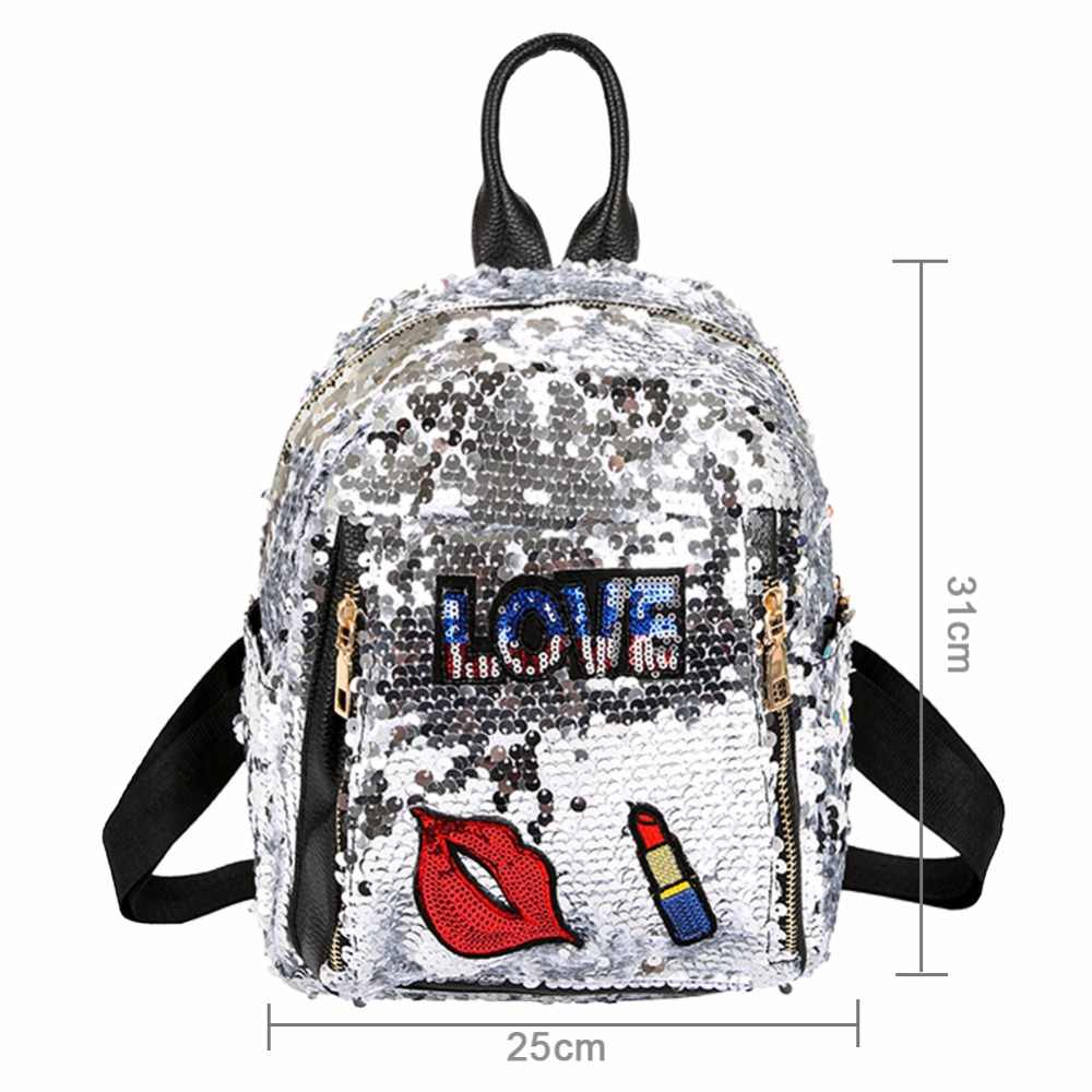 d3b5711801a4 ... 2018 Sequins Backpacks for Teenager Girls PU mochila Shine Backpack  Female Glitter Large Girls Travel Shoulder
