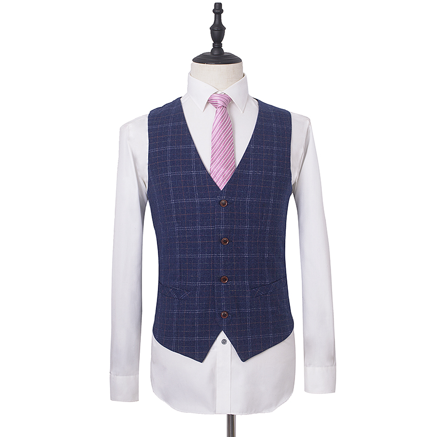 Mode Mariage Affaires Robe Ensembles Blazer as Partie Slim Smokings Pantalon Picture Picture Hommes Marque Formelle Costumes As Fit De veste Plaid Gilet x7IOqwz
