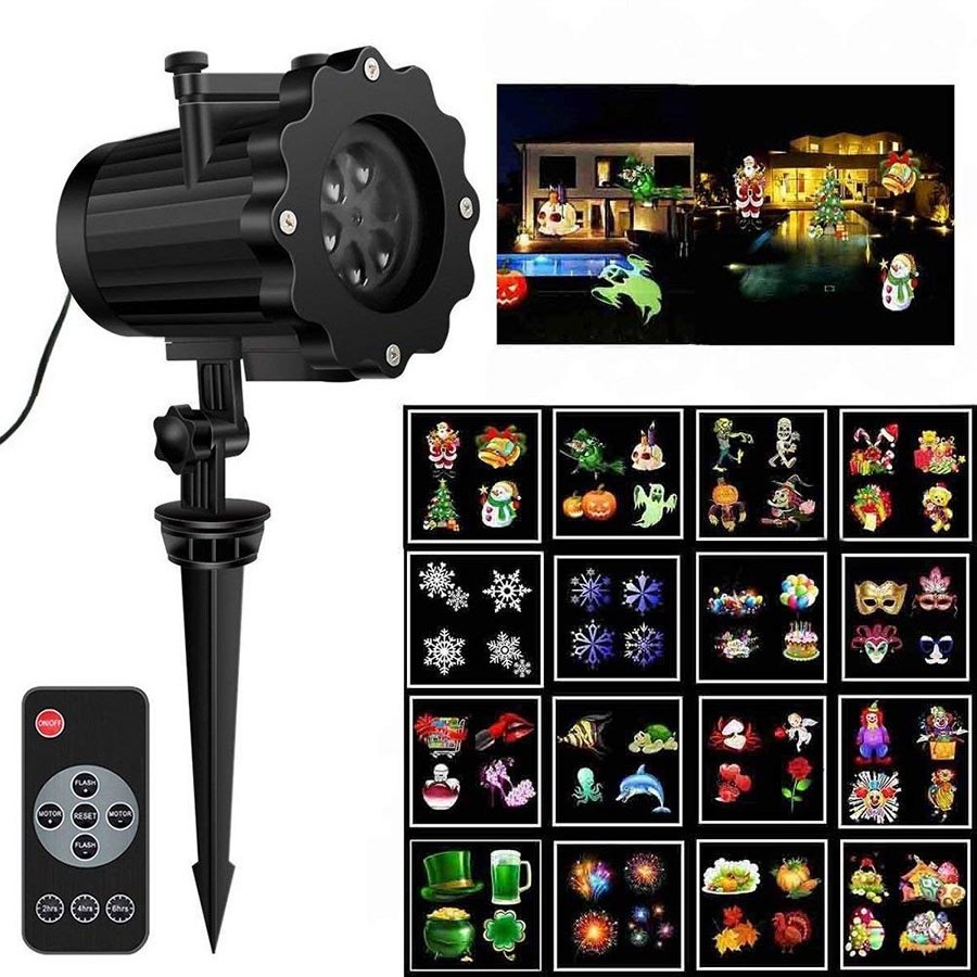 16 Patterns Outdoor Garden Moving Laser Projector Lamp Halloween Christmas Holiday Snowflake Landscape Laser led stage Light недорого