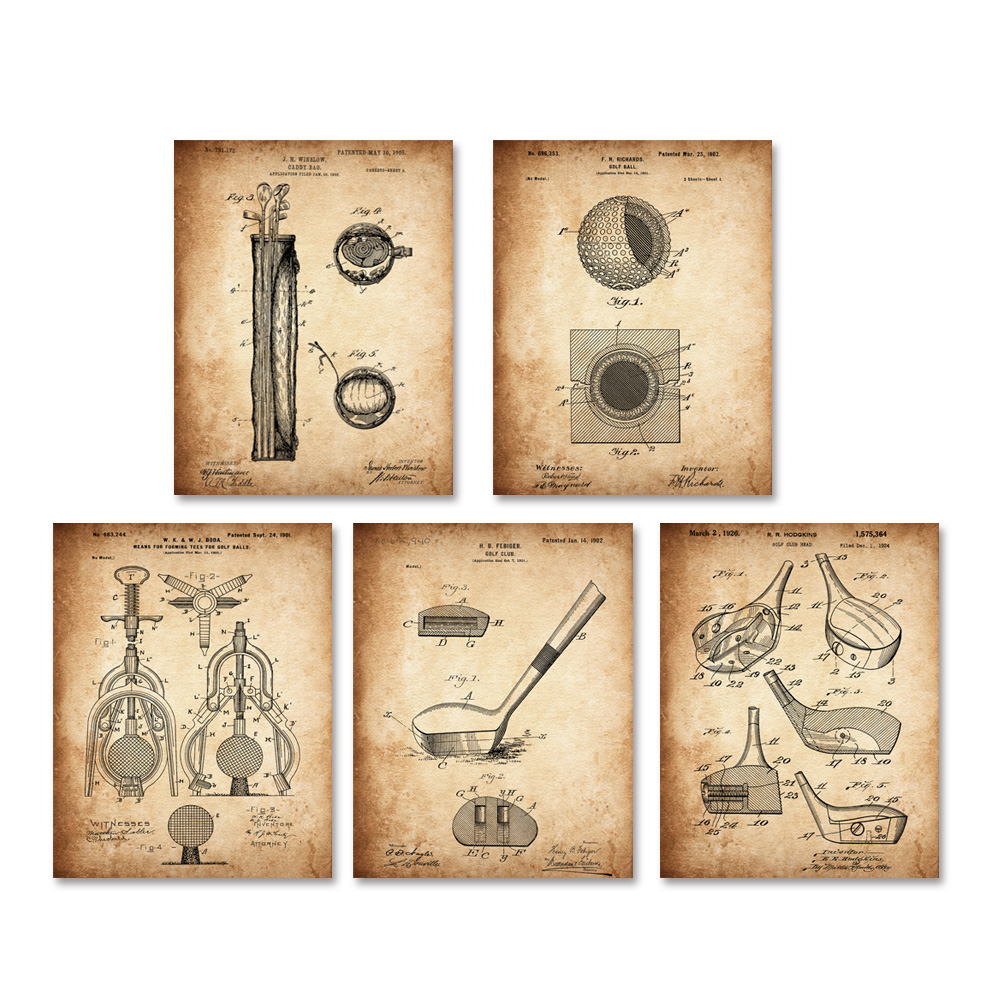 Vintage patent art on golf ball club golf tees art prints sets 5 in ...