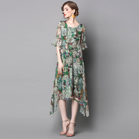 Large Dresses Round Neck Casual Irregular Lotus Leaf Sleeve Printing Long Dress Women S Clothing 2017