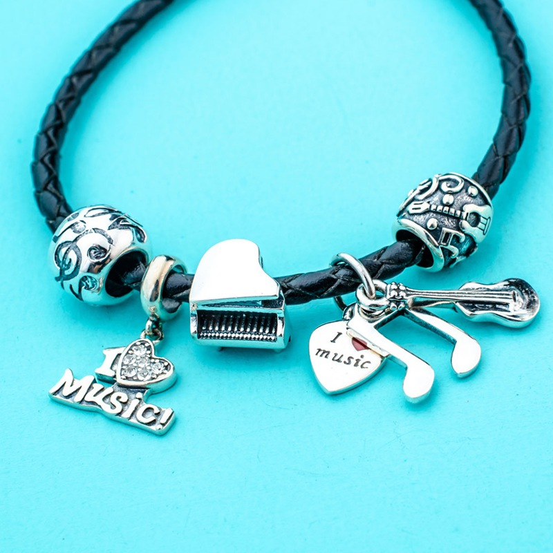 Sambaah 3mm Chain Italian Braided Leather Bracelet with 925 Sterling Silver Muiscal Note Charms for European Basic Bracelet in Chain Link Bracelets from Jewelry Accessories