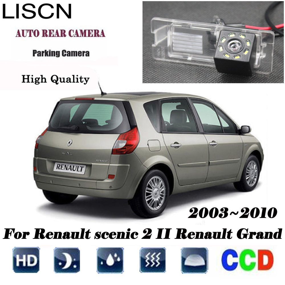 HD Night Vision Backup Rear View Camera For Renault Scenic 2 II Renault Grand Scenic 2003~2009 Plate Light Camera CCD