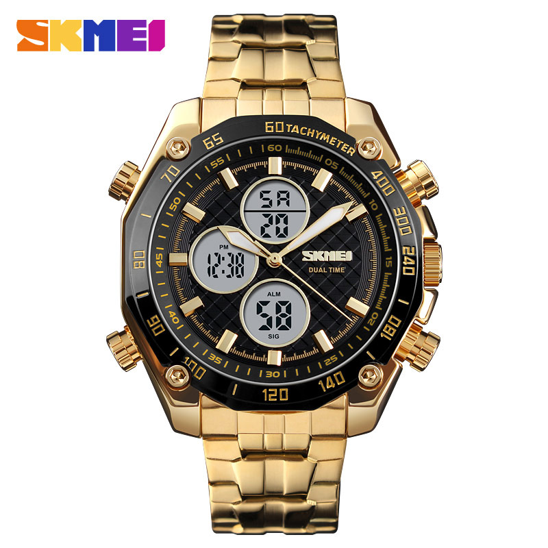 <font><b>Skmei</b></font> Men's Watch Gold Digital 2 Time Waterproof Watches Man Eletronic Clock Silver Stainless Steel Adjustable Strap Wristwatch image