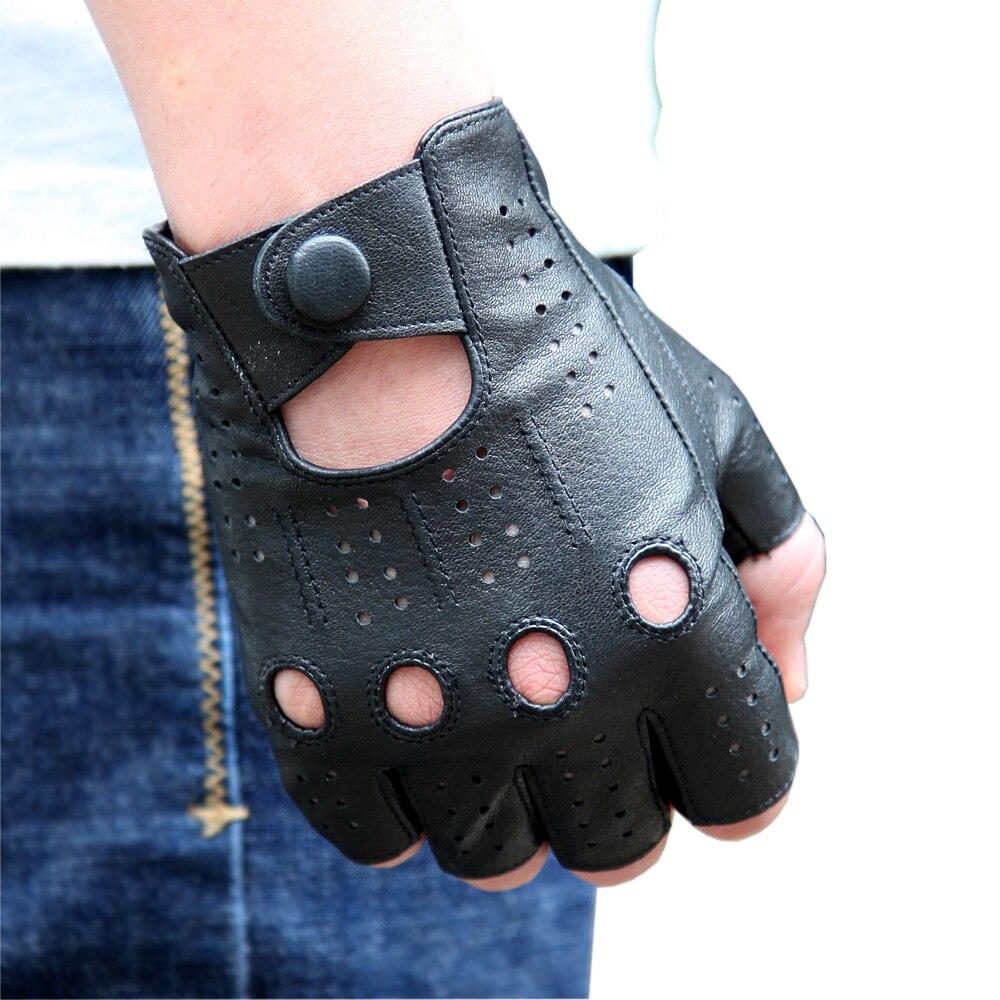 Men's Semi-Finger Gloves 2019 New Genuine Leather Half Finger Lambskin Gloves Male Imitation Deerskin Breathable Non-Slip M046P1