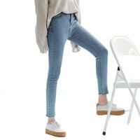 Elástica normal lápiz casual skinny jeans para mujer delgada Atractiva azul stretch jeans para niñas pantalones de Mezclilla ZIH073