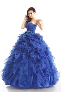 Image 3 - Cheap Blue Color Strapless Beading Ruched Wedding dress 2020 Korean Female Art Exam Gowns Part Dress Vestidos De Novia