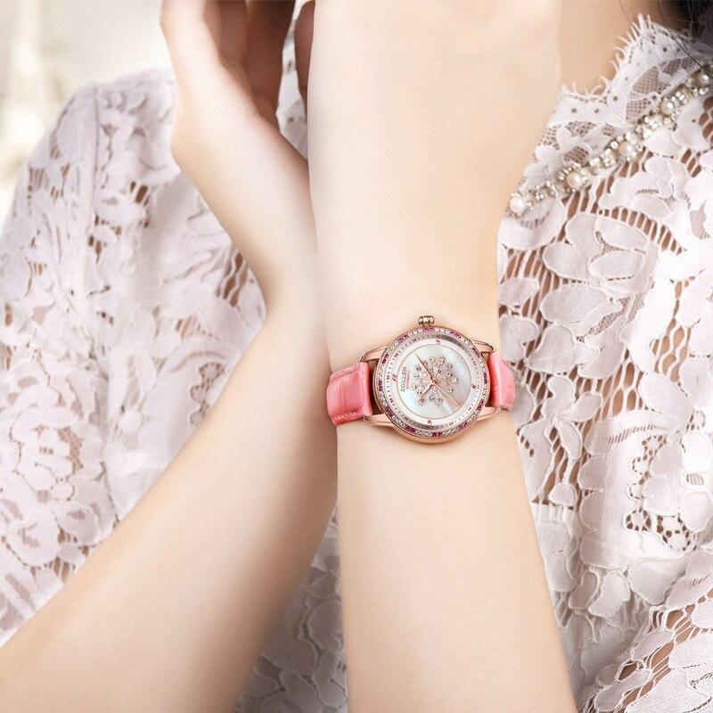 SOLLEN Moda Mulheres Relógios de Cristal de Safira À Prova D' Água Relógio Das Mulheres Senhoras Pulseira de Couro Relógio de Quartzo Top Marca de Luxo Rosa - 2