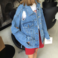 Fashion Trendsetter BF Solid Personality Wind Hole Denim Jacket Female Beggar Style