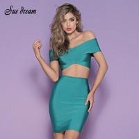 Free Shipping 2016 Green Sexy Cross V Neck Sleeveless 2 Piece Set Fashion Women Bodycon Evening