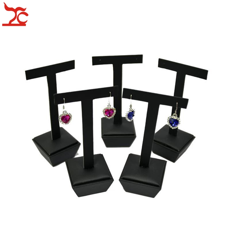 New Arrival 5Pcs Black PU Series Counter Show Case Fashion Earring Stud Jewelry Display Hanging Stand Holder T Bar 5*5*13.5cm