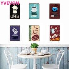 Kávový štítek Kavárna Dekorace Plakát Neon Kovový plech Vintage Nápoj Evropský styl Obdélník Nápojový stůl Nástěnná miska 20x30cm