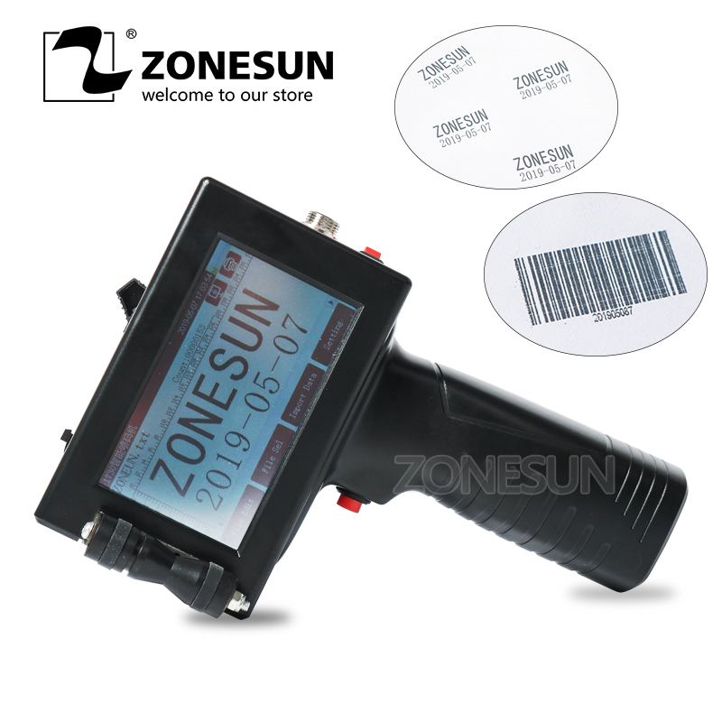 ZONESUN Touch Screen Handheld Intelligent USB QR 360 degree Inkjet Printer Coding Machine For Carton Rubber
