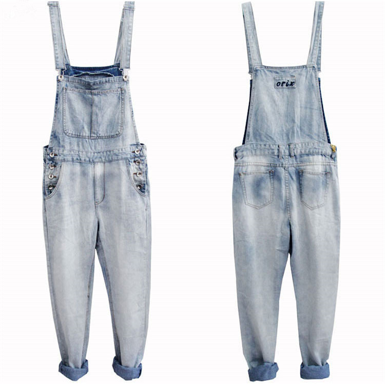 S-4XL 5XL Large Size Mens Denim Blue Overalls Fashion Loose Jeans One Piece Jumpsuit For Men Suspender Pants Big Size Clothing