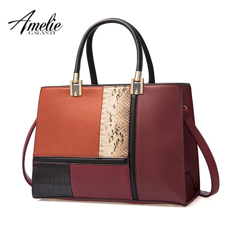AMELIE GALANTI Мода StitchingTop-ручка сумки женские сумки через плечо женская большая емкость PU кожаные сумочки