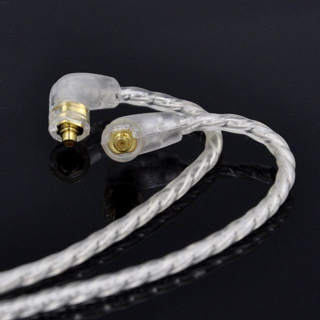 Easy 4 Cell Single Crystal Copper Plated Silver Cable Earphone Upgrade Cable for Shure SE425 SE215 SE315 UE900 W40  With Earhook