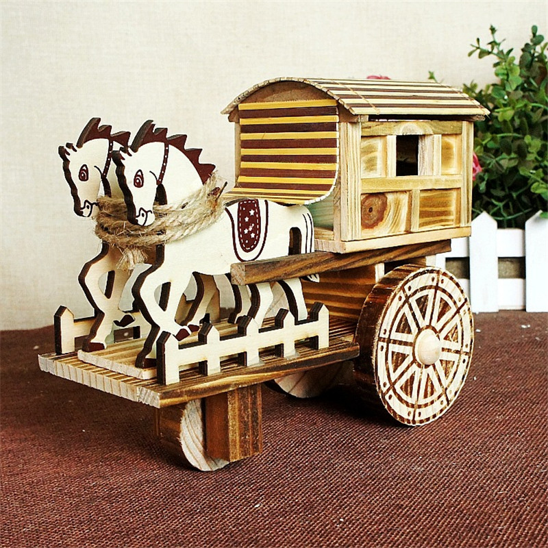 Vintage Music Box Two-carriage octave Decoration Wooden Crafts Student Gift Vehicle Wood Children Mechanical Music Box Mechanism