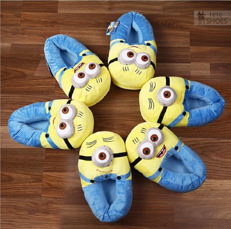 HAPPY ISLAND 3D Despicable Me Plush Cartoon Toys Plush Slipper Home Lovers Winter House Minion shoes Warm Soft Plush Home Shoes ...