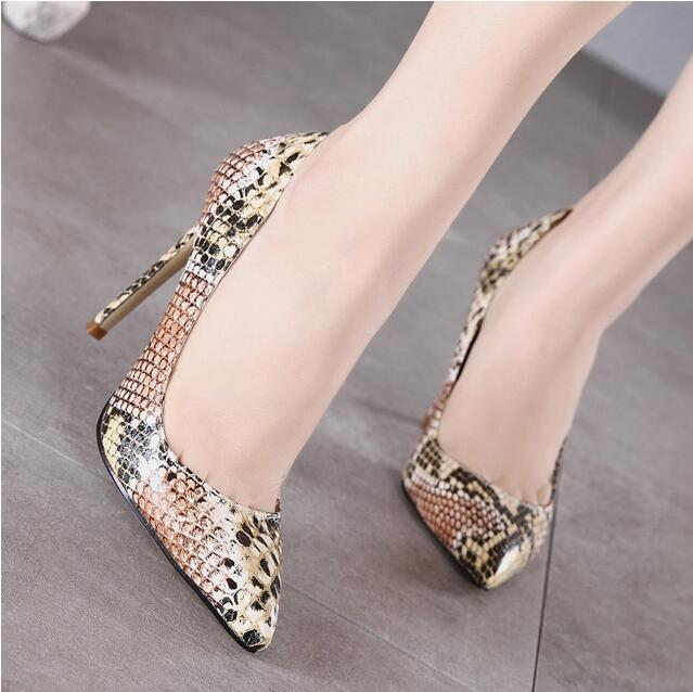 MANMITU4-Free Shipping Occident vogue sexy snake pattern single shoes woman high heels girl fashion pumps zapatos mujer khaki